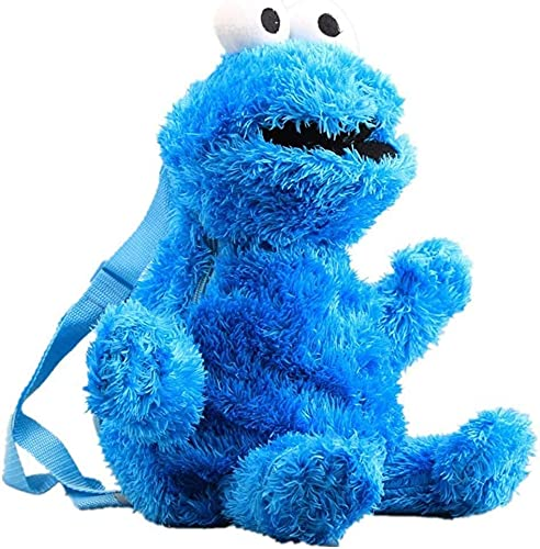 HOOM Sesamstraße Krümelmonster Plüsch Rucksack, 3D Cartoon Elmo Cookie Monster Rucksack Kinderrucksack 45 cm (Blau)