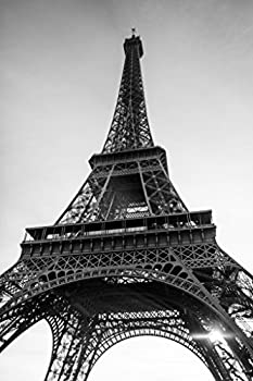 Eiffel Tower Paris France in Black and White Photo Photograph Cool Wall Decor Art Print Poster 12x18