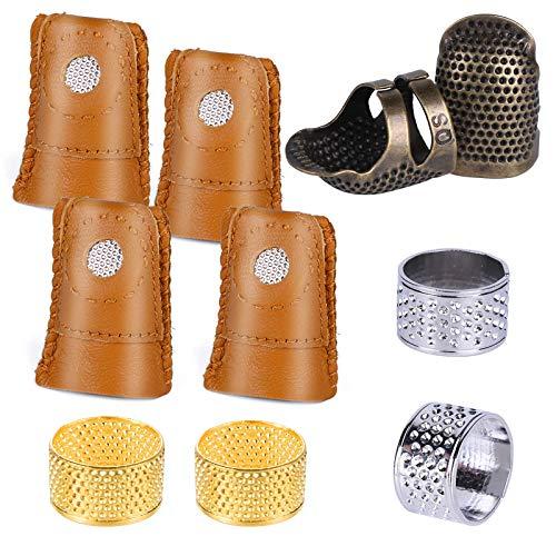 Wamkon 10 Stücke Nähen Fingerhut Set, LederFingerschutz mit 2 Farbigen Metall Fingerhut, Quilten Fingerhut zum Handnähen und Handarbeiten