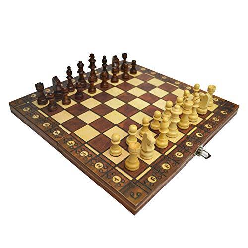 Juego de ajedrez plegable 3 en 1 Tablero de piezas de ajedrez de madera, juego de mesa de ajedrez Drafts Set Set Travel Chess Conjuntos portátil para Fiesta Familia Escuela Viajes y competición Juego