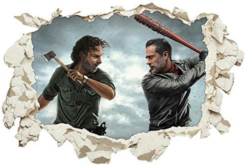 Unified Distribution The Walking Dead - Rick vs. Negan - Wandtattoo mit 3D Effekt, Aufkleber für Wände und Türen Größe: 92x61 cm, Stil: Durchbruch