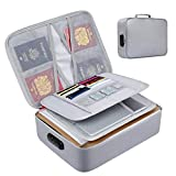 Fireproof Document Box with Lock File Storage Organizer Box, Waterproof Safe Fireproof Document Bag Large Capacity for Home Office Travel (14.17'x10.63'x3.93')