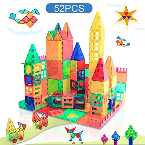 Magnet Toys for 3 Year Old Boys and Girls Magnetic Blocks Building Tiles STEM Learning Toys Montessori Toys for Toddlers Kids - 52pcs Starter Set…