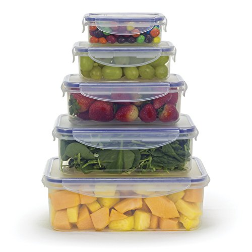 Food Storage Airtight Nested Containers with Locking Lids (Set of 5)