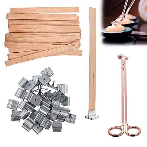 50 Pcs Wooden Wicks for Candle Making Rose Gold Candle Wick Trimmer and Iron Stands, Natural Wood Wicks for Candlemaking, Soy Wax Flakes for Candle Wax Making, Candle Making Supplies