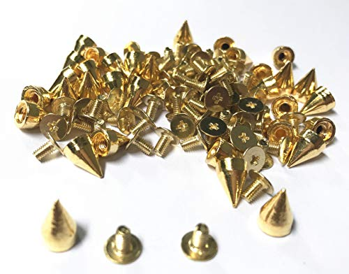 Bullet Spike, 100 Sets Bullet Cone Spike and Stud Metal Screw Back for DIY Leather-Craft (Gold, 7 x 9.5 mm)