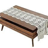 gracebuy Beige 16X43 Inch Rectangle Handmade Crochet Lace Tablecloth Doilies