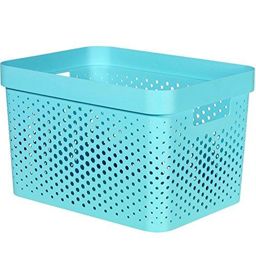 CURVER 04740-X34-00 Boîte de Rangement Infinity avec Motif de Points 17L Molokai Bleu, Plastique, 35,6 x 26,6 x 21,8 cm