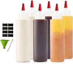 6-pack 16 oz Premium Condiment Squeeze Bottles for Sauces, Paint,Oil, Condiments,Salad Dressings, Arts and Crafts - BPA Fr...