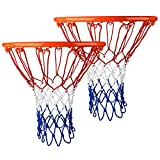 SIVENKE Red de baloncesto de 2 piezas para baloncesto, resistente y gruesa, para interior y exterior, para todos los tipos de clima, 12 bucles
