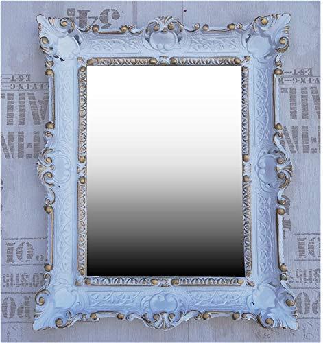 Lnxp wandspiegel barok spiegel in 56X46 cm wit-goud DUALCOLOR renaissance weelderige prachtvolle nostalgie antieke barok REPRO barok stijl
