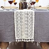 Makramee-Tischläufer aus Baumwolle, gehäkelte Spitze, Tischläufer mit Quasten, Vintage-Tischläufer, Bohemian-Stil, für Hochzeit, Braut-Esstisch (24 x 240 cm) - 9