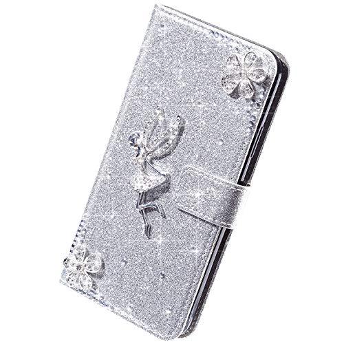 Herbests Kompatibel mit Samsung Galaxy S7 Hülle Leder Handyhülle Mädchen Diamant Bling Strass Glitzer Blumen Handytasche Flip Case Brieftasche Klapphülle Schutzhülle Magnet,Silber