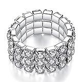 Multi Stone Verstellbare Stretch Drei Row Scallop Einstellung Stretch Elastischen Cocktail Ring von Pashal (Silber - Diamond)