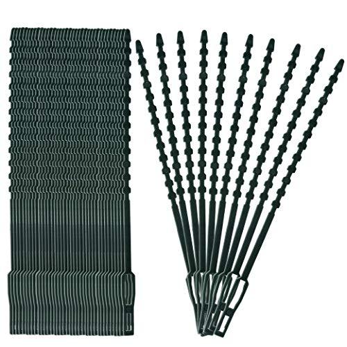 MengH-SHOP Verstellbare Pflanzenbinder Flexible Garten Pflanzen Anbinder Kunststoff Schnellbinder Pflanzenclips für Pflanzen Unterstützung 17cm 100 Stück (Dunkelgrün)