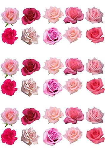 Assortiment de 30 magnifique fleur Rose plaquette comestibles Papier Cake Toppers décorations