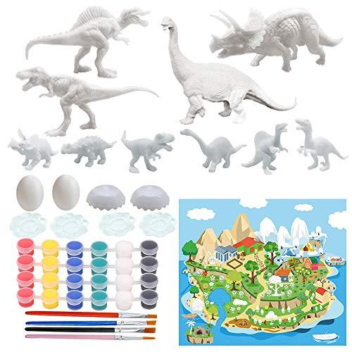 ZoneYan Dinosaurier Malset für Kinder, Malerei Dinosaurier Spielzeug, 3D DIY Dinosaurier Malset, Dinosaurier-Spielzeug Malsets, Dinosaurier Spielzeug Kunst Set, 3D Malerei für Jungen Mädchen (47Stck)