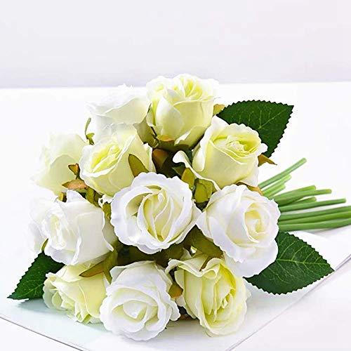 JUSTOYOU Ramo de Rosas Artificiales, Ramo de Flores Artificiales de Seda para Novia, Ramo de 12 Cabezas para decoración del hogar, jardín, Fiesta, Boda