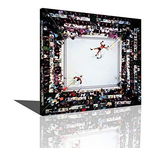 Póster De Boxeo Deportivo Muhammad Ali Knockout Lienzo Póster Impresión Pared Arte Imagen Decoración Pintura Regalo (16x16inch(40x40cm),Enmarcado)