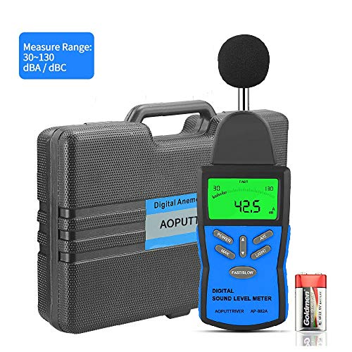 Digital Sound Level Meter AP-882A Noise Level Meter Tester Range from 30-130dB,Digital Decibel Meter with LCD Backlight/Max Hold,/Sensitivity Adjustment and dBA/C Switch(Battery Included)