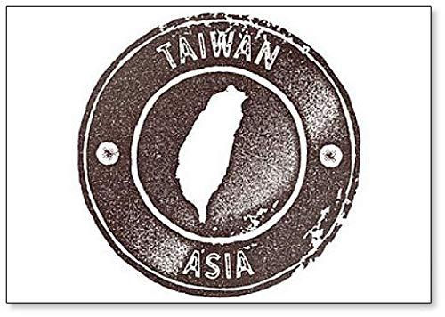 Azië, Taiwan Map Vintage Stamp Retro Style Illustratie Koelkast Magneet