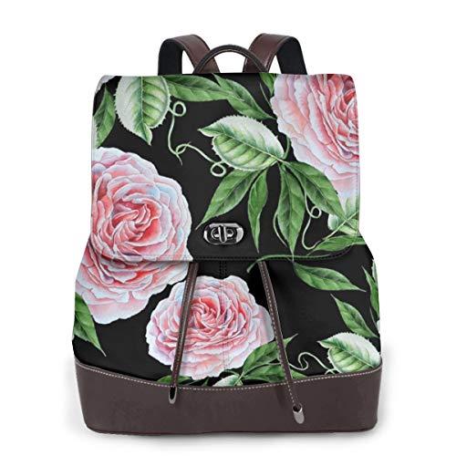 Bright Ananas Flamingo Damen Mode echtes Leder Rucksack Mädchen Reise Schule Mini Schultertasche, Gelb - Bright Roses - Größe: Einheitsgröße