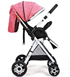 OESFL Cochecito de carro convertible carretilla compacta silla de paseo sola, del niño del asiento de la carretilla de la carretilla con la taza titular (Color : Pink)