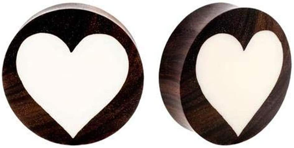 Bone Plugs with Teak Wood Inlay 2pc Sold In Pairs 8G, 6G, 4G, 2G, 0G