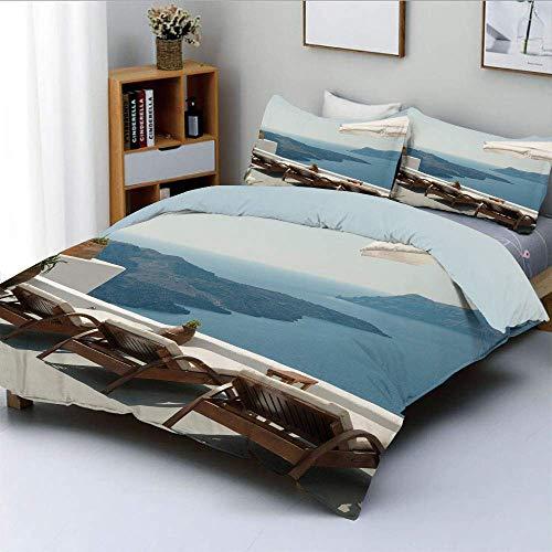 Juego de funda nórdica para tomar el sol con terraza con vistas a la caldera Santorini Aegean Greece Print Juego de cama decorativo de 3 piezas con 2 fundas de almohada, azul, blanco y verde,