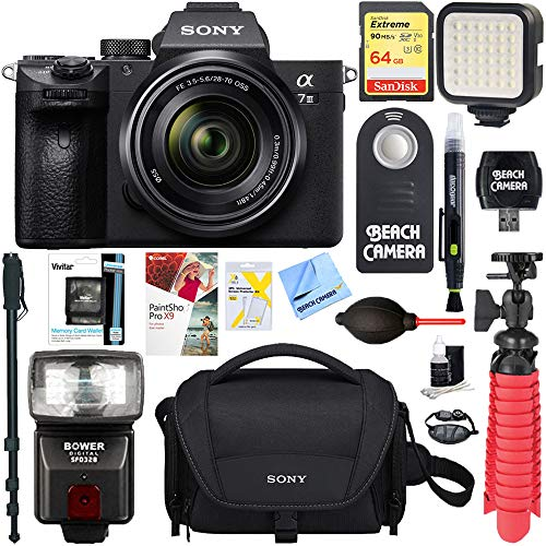 Sony a7III Full Frame Mirrorless Interchangeable Lens Camera with 28-70mm Lens + 64GB Memory & Flash a7III Accessory Bundle