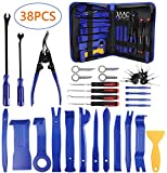 AUTDER 38 Pcs Body Repair Upholstery & Trim Tools Trim Removal Tool Kits Pry Kit Door Panel Tool Radio Repair Modification Pliers Fastener Remover with Storage Bag