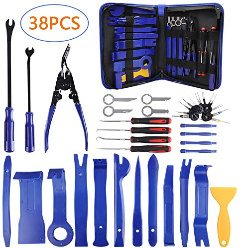 AUTDER Trim Removal Tool Set 38Pcs, Car Trim Puller Tool Kit, Plastic Pry Tools Set for Trim/Panel/Door/Audio, Auto Clip Pliers/Fastener Remover Set, Car Stereo/Terminal Removal Tool Kit