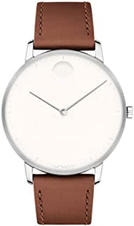Movado Men's FACE Stainless Steel Case with a White Dial on a Cognac Leather Strap 3640001