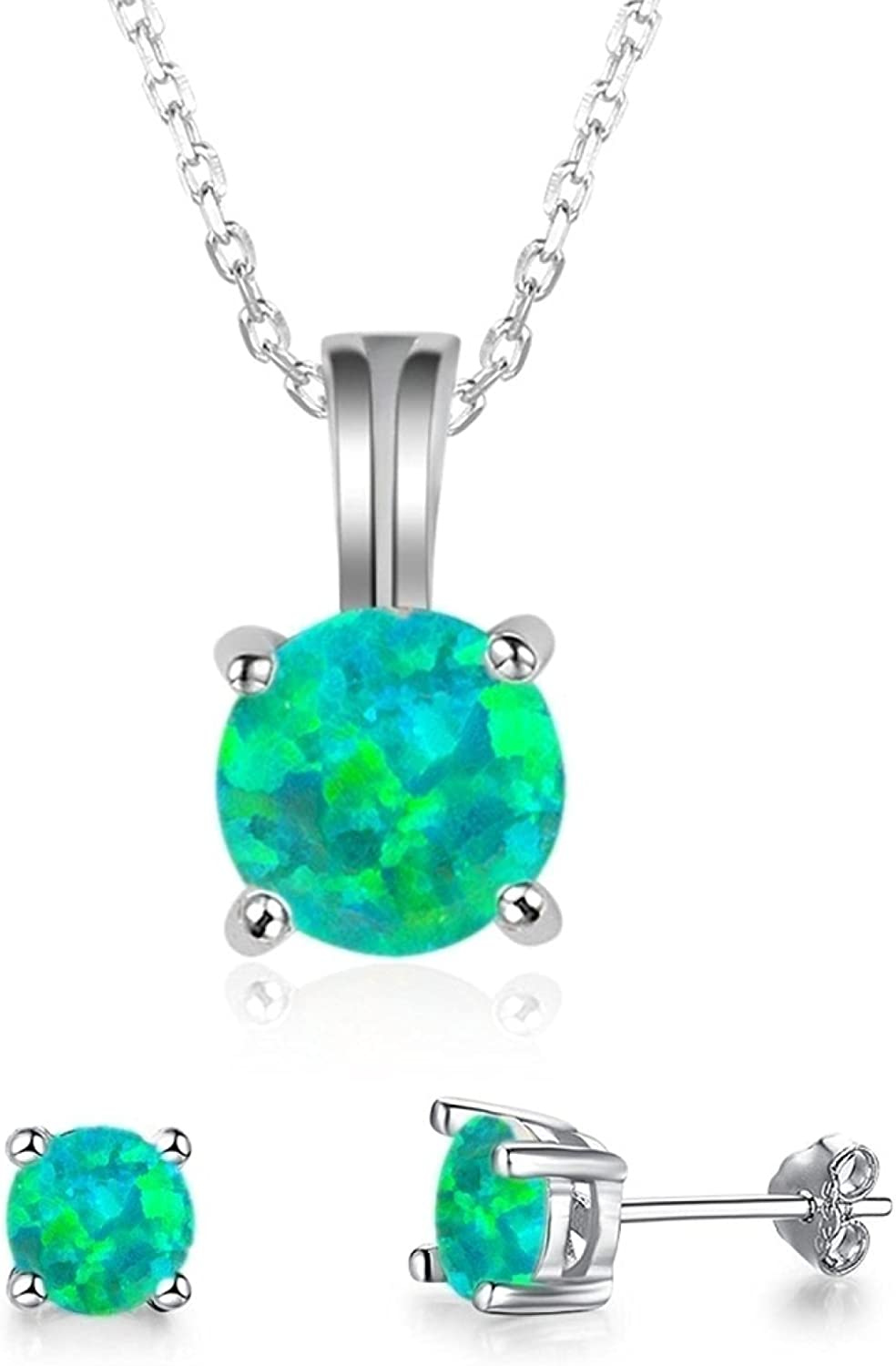 Trendy Women Pendant Necklace & Stud Earring Set For Girl Gift Fashion Cute Round Pendant Jewelry Set