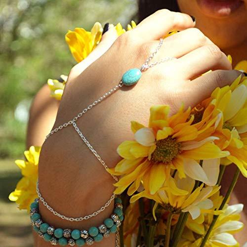 TseenYi Pulsera de dedo turquesa con capas de plata, pulsera de muñeca, estilo bohemio, cadena de mano, joyería para mujeres y niñas (plata)