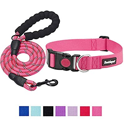 """beebiepet Classic Nylon Dog Collar with Quick Release Buckle Adjustable Dog Collars for Small Medium Large Dogs with a Free 5 ft Matching Dog Leash (L Neck 17""""-26"""", Pink)"""