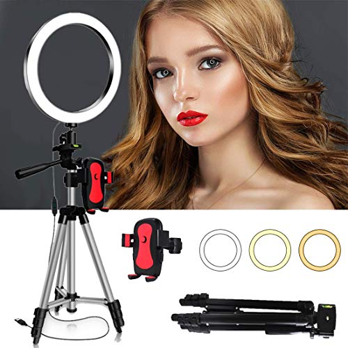 DLMPT 6/8/10 inch LED ringlamp met verstelbare statief ring licht set instelbare kleurtemperatuur en helderheid voor Make-up YouTube Video Fotografie