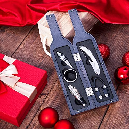 Vina 5 Pcs/set Deluxe Wine Accessory Gift Set – Wine Bottle Opener Stopper Drip Ring Foil Cutter and Wine Pourer, Novelty Bottle-Shaped Gift for Wedding Birthday Anniversary Black