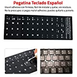 Adhesivo Teclado Español (Pegatinas de teclado fuerte, impermeable, cubierta teclado, pegatina de lenguaje, diseño de película protectora, con letras de botón, teclado de computadora, para ordenadores portátiles, para ordenadores de mesa, para pc) - Negro