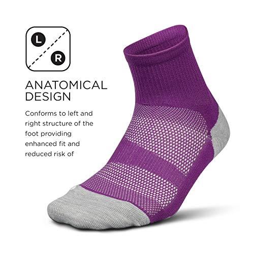 Feetures - Elite Light Cushion - Quarter - Athletic Running Socks for Men and Women - Ruby - Size Medium