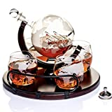 Whiskey Decanter Sets Globe Decanter for Alcohol – Newest Large Etched Globe Decanter for Men and Women with Wood Base – Personalized Set with 4 Glasses for Liquor, Scotch, Bourbon, Brandy, Vodka