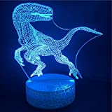 Lámpara De Ilusión 3D Reloj Despertador Con Luz Nocturna Led Los Dinosaurios Baseraptors Animal Ligh Base Brillante Interior Oficina Directamente Directa