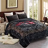 Fleece Blanket King Size, Heavy Korean Mink Blanket 85 X 95 Inches- 9 Lbs, Single Ply, Soft and Warm, Thick Raschel Printed Mink Bed Blanket for Winter (Grey, King)