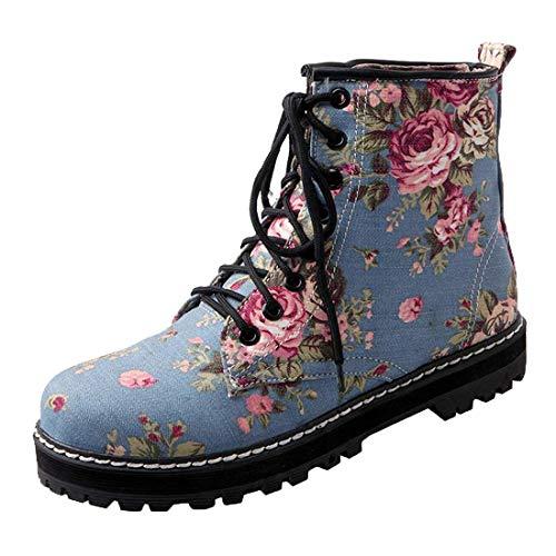 MISSUIT Damen Denim Flache Stiefeletten mit Schnürung und Plateau Ankle Boots Jeans Blumenmuster Schnürsenkel Stiefel(Hellblau,39)