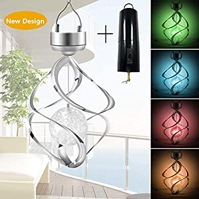 Hanging Solar Lights Outdoor Wind Chimes Lights LED Colour Changing Hanging Light for Design Decoration for Garden, Patio, Balcony Outdoor & Indoor (Revolving Wind Chimes)
