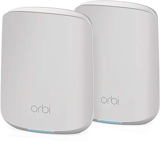 NETGEAR Orbi Mesh WiFi 6 RBK352, Sistema de doble banda compuesto por router y 1 extensor satélite, Cobertura de hasta 200 m² y más de 30 dispositivos, AX1800 (hasta 1.8 Gbps)
