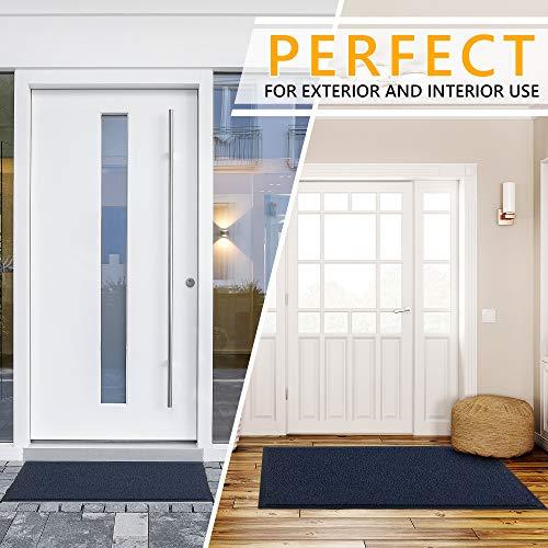 GadHome Felpudo de Entrada, Azul 60x90 cm|Alfombra Exterior para Puerta, Impermeable, Lavable para Atrapar Suciedad para Recibidor|Alfombrilla Antideslizante, Pasillo, Cocina, Dormitorio