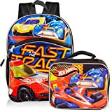 Hot Wheels Backpack with Lunchbox Set for Boys Kids ~ Deluxe 16' Hot Wheels Racecar Backpack with Insulated Lunch Bag (Hot Wheels School Supplies)