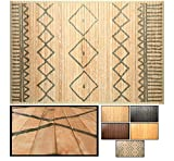 LucaHome – Alfombra bambú Uganda Ideal para Interior o Exterior, Alfombra bambú para Cocina, salón, despacho, Dormitorio con Cenefa, Alfombra de bambú Antideslizante (Rombos, 80x150cm)
