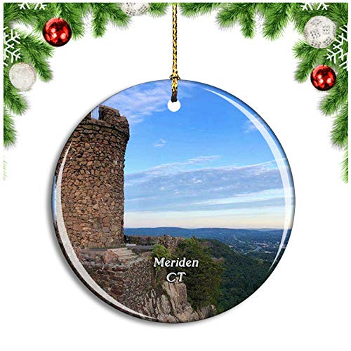 Weekino Meriden Castle Craig Connecticut USA Christmas Ornament Xmas Tree Decoration Hanging Pendant Travel Souvenir Collection Double Sided Porcelain 2.85 Inch